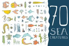 Check out 70 Hand Drawn Sea Creatures by Favete Art on Creative Market Pencil Illustration, Graphic Illustration, Illustrations, Love Drawings, Animal Drawings, Sea Creatures Drawing, Create Font, Creative Sketches, Paint Markers