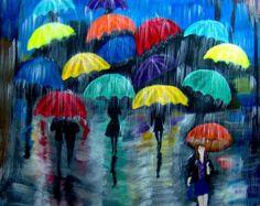 cuadro gente bajo la lluvia con paraguas por miscuadrosfavoritos