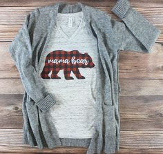 Mama Bear Pregnancy Christmas Outfit | This boho hipster Christmas shirt for moms is perfect for any pregnant woman who wants to dress her bump while staying cute and comfy. The red plaid is PERFECT for winter months and the holiday season. Maternity Christmas clothes must-have piece for any wardrobe! #Affiliate