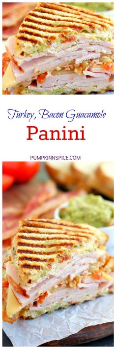 This Turkey, Bacon and Guacamole Panini is loaded with sliced turkey, creamy guacamole, Havarti cheese, bacon and tomatoes. It's make a delicious sandwich that is easy to make and even better to eat!