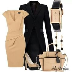Tan & Black Outfit With Accessories