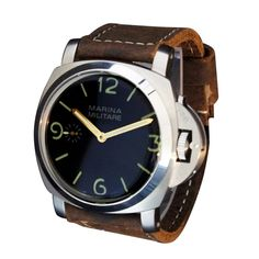 Amazon.com: Whatswatch 47mm Parnis 1950s Fiddy Style PAM Homage Marina Militare Manual Wind Watch PA-01167: Watches Cheap Watches, Vintage Rolex, Chronograph, 1950s, Manual, Amazon, Accessories, Style, Swag