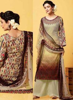 Cream Cotton Satin Button Work Printed Designer Pakistani Fancy Palazzo Suit http://www.angelnx.com/Salwar-Kameez/Pakistani-Suits