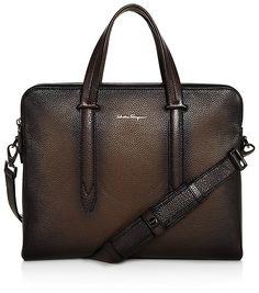 Salvatore Ferragamo Firenze Glow Pebbled Leather Slim Briefcase: $1,690