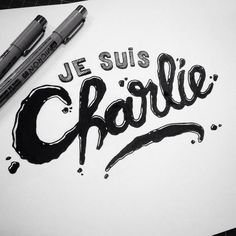 #charliehebdo #jesuischarlie---IN MEMORY OF CHARLIE HEBDO Typography Letters, Typography Logo, Lettering, Caricature, Words Quotes, Sayings, Freedom Quotes, Respect Life, Charlie Hebdo