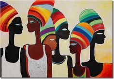 Cuadro Turbantes de colores no es solo para los amantes de estilo étnico. Başörtüsü Modelleri 2020 - Tesettür Modelleri ve Modası 2019 ve 2020 Arte Black, African Art Paintings, African Artwork, Easy Paintings, Afrique Art, African Colors, Tableau Design, Art Africain, African American Art