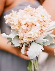Pale peach stock and dusty miller bouquet - works great with  this soft gray dress