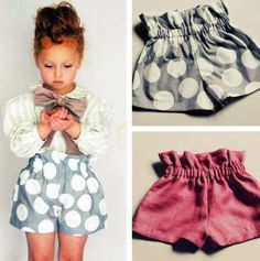 What We Wore Wednesday (Girls High Wast Ruffle Shorts)Adorable shorts & easy to make! Also, why are kids' clothes so cute.Adorable shorts & easy to make, DEFENITLY making a pair of the for myself! I don't even ca they are for kids!Adorable shorts & e Diy Clothing, Sewing Clothes, Sewing Shorts, Children Clothing, Sewing For Kids, Baby Sewing, Couture Bb, Short Niña, Diy Vetement