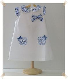 Vestido Piqué Liberty another great idea for that tiny piece of Liberty cotton Más Frocks For Girls, Kids Frocks, Little Girl Outfits, Little Dresses, Little Girl Dresses, Kids Outfits, Girls Dresses, Baby Dress Design, Baby Girl Dress Patterns