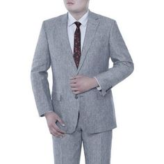 Verno Men's Blue Chalk Stripe Classic Fit Italian Styled Suit, Size: 48R