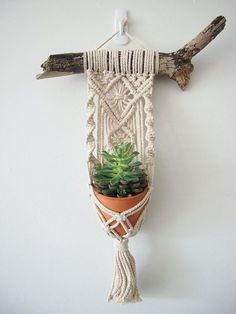Macrame Plant Hanger Wall Hanging Fits Mini Pot Woven Indoor Vertical Garden Handmade Home Decor Interior Design Hanging Plants - MALUA This beautiful little hanging basket is handmade, with fine details and a magnificent tassel. Macrame Projects, Macrame Art, Macrame Knots, Micro Macrame, Hanging Plants, Plants Indoor, Porch Plants, House Plants, Plant Holders