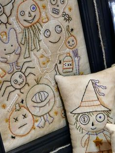 Tea dyed muslin... Halloween hand embroidery  pattern..   hudsonsholidays.com witch ghost monster