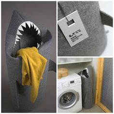 Adorable (kind of!) shark clothes basket - eat up dirty clothes- how could the kids not use this?