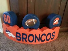 Painted Broncos Curved Paver with 3 Toppers by French Angels Crafts on FB