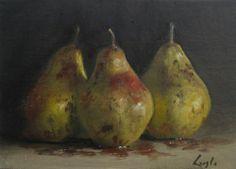 "Frank Laszlo Original oil painting,Still Life, Three Pears 7""x 5"""