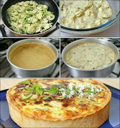 Zucchini Quiche, rennet cheese and mushrooms. Veggie Recipes, Vegetarian Recipes, Cooking Recipes, I Love Food, Good Food, Yummy Food, Zucchini Quiche, Salty Foods, Portuguese Recipes