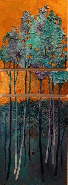 "CAROL NELSON FINE ART BLOG: ""Golden Pond"", mixed media abstract tree landscape © Carol Nelson Fine Art"