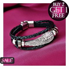Made from authentic leather, this Black Charming Braided Angel Wing #Bracelet will let you add more style and glamour to your overall personality. Made for modern men and women, this stunning casual bracelet exhibits a captivating design to catch anyone's attention around. Order an angel pack option and get up to 70% off on every purchase.  https://www.lindastars.com/products/3-pack-black-charming-braided-angel-wing-bangle