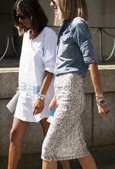 chambray + pencil skirt
