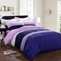 Blue Pink and White Modern Wide Stripes Print 100% Cotton Full, Queen Size Bedding Sets
