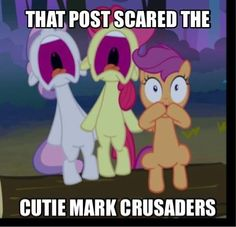 Scaring the Cutie Mark Crusaders. MLP pony.