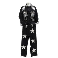 A Tamorah Marie black denim embellished stage ensemble with hand decorated stars, studs, bezel set round reflective mirrors and rhinestones, and silver metallic leather fringe with button down jack. Leather Fringe, Metallic Leather, Black Denim, Nashville, Tennessee, Stage, Pajama Pants, Fashion, Moda