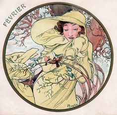 Alphonse Mucha - Month's of the Year - February - Art Nouveau