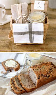 Banana Bread and Honey Butter Breakfast Gift Basket | 40 DIY Gift Basket Ideas for Christmas | Handmade Gift Ideas for Christmas