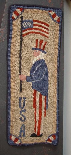 Primitive Uncle Sam Hooked Rug Rug Hooking Red White and Blue Folk Art ~   Americana Uncle Sam Wool Hooked Rug.