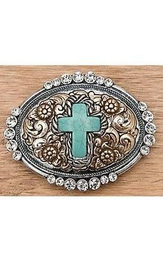 M Western Products Silver and Gold with Turquoise Cross and Crystals Oval Buckle