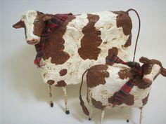 Primitive Paper Mache Folk Art Cow and by papiermoonprimitives