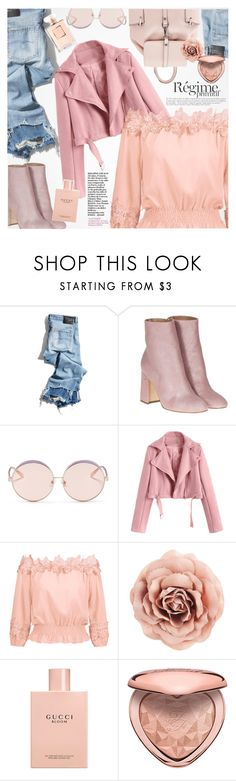 """Off shoulder top"" by vanjazivadinovic ❤ liked on Polyvore featuring R13, Laurence Dacade, N°21, Anja, Gucci, Too Faced Cosmetics, Chanel, polyvoreeditorial and zaful"