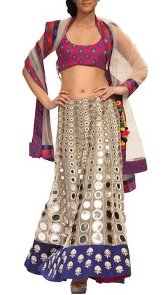Mirror Work Lehenga | Strandofsilk.com - Indian Designers