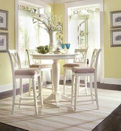 White Camden Bar Table Set - Lea American Drew - CAMDENWSET4 - Pub Tables, Pub Sets