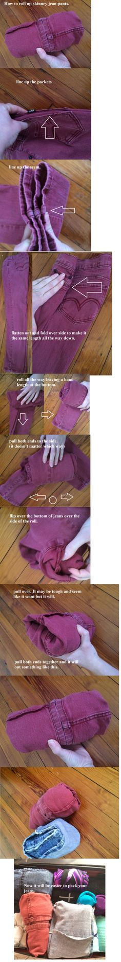How to fold skinny jeans for easy packing.