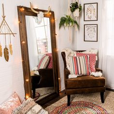 Western Decor 64974 For a chic space with all the boho vibes, mix and match colorful patterns with tons of texture alongside airy and earthy elements like dreamcatchers and trailing foliage.
