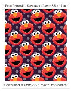 Free Dark Purple Polka Dot Large Elmo Head Pattern Paper - Sesame Street