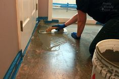 How to pour self levelling cement yourself basement for Liquid lino floor paint