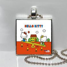 Retro Hello Kitty Playground Square Tile Pendant by Pendantmonium, $6.00