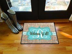 Burlap Inspired Chevron Door Mat Welcome Y'all Personalized Door Mat Monogram Floor Mat Initial on Etsy, $30.00