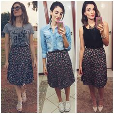 love these ideas of dressing up a skirt in several different ways Modest Outfits, Skirt Outfits, Stylish Outfits, Cute Outfits, Skirt Fashion, Fashion Dresses, Modesty Fashion, Colorful Fashion, Indian Outfits