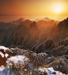 Huangshan National Park (Yellow Mountain), a scene straight from the ancient Chinese scroll paintings, a popular subject for Chinese literature, poetry and art.