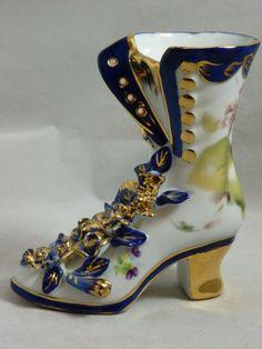 LIMOGES CHINA COBALT BLUE WHITE PORCELAIN VICTORIAN SHOE BOOT FIGURINE