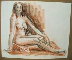 """FEMALE NUDE"" by Ruth Freeman DRAWN WITH CONTE' FROM LIFE 15 1/4"" X 19 3/4"" #Realism"