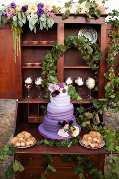 Ombre cake...  I like this wedding colour combo. Dusty pink, purple, green, and neutral