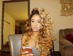 Blonde Hair Weave Hairstyles for Black Women - Bing images Love Hair, Gorgeous Hair, Weave Hairstyles, Pretty Hairstyles, Black Hairstyles, Blonde Weave, Curly Hair Styles, Natural Hair Styles, Honey Blonde Hair
