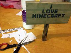 I love Minecraft sign template printout
