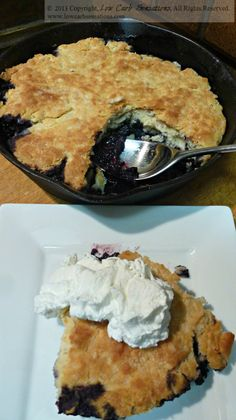 Blackberry Cobbler ~ www. Low Carb Deserts, Low Carb Sweets, Low Sugar Recipes, No Sugar Foods, Fudge, Carbquik Recipes, Blackberry Cobbler, Pudding, Keto Cake