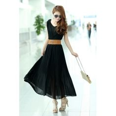 Beautiful & Pretty Lace High Waist Pleated Long Dress With Belt----Black