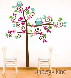 Image detail for -wall decal swirl tree with owls birds flowers vinyl wall art sticker ...